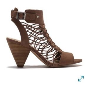 Vince Camuto Evel Caged Sandals, 10, tan